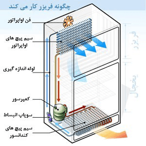 اجزای تشکیل دهنده یخچال فریزر