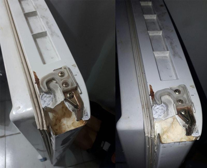 شکستگی لولای درب یخچال LG